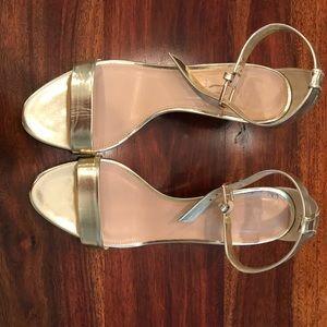 J crew metallic kitten heel sandals size 8